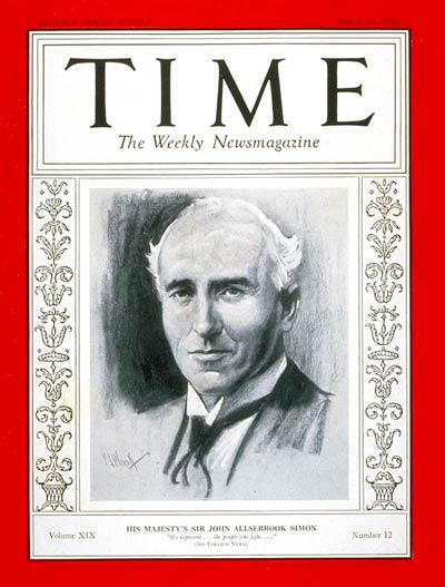 TIME Magazine Cover: Sir John A. Simon -- Mar. 21, 1932