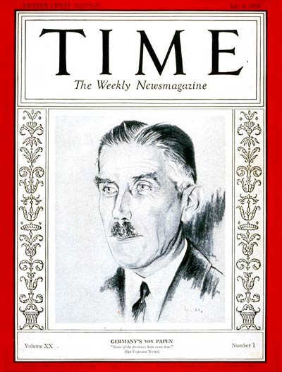 TIME Magazine Cover: Franz von Papen -- July 4, 1932