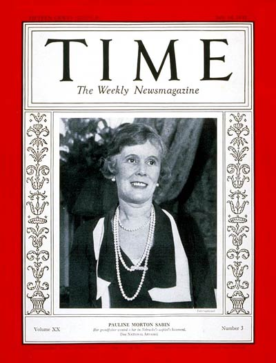 TIME Magazine Cover: Pauline M. Sabin -- July 18, 1932