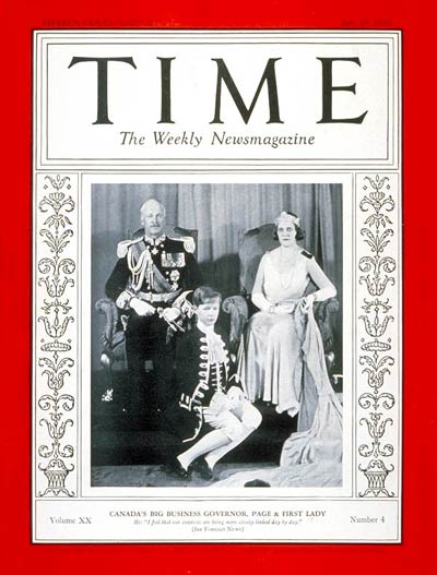 TIME Magazine Cover: Earl of Bessborough -- July 25, 1932