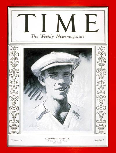 TIME Magazine Cover: Ellsworth Vines Jr. -- Aug. 1, 1932