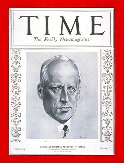 TIME Magazine Cover: Norman M. Thomas -- Aug. 8, 1932