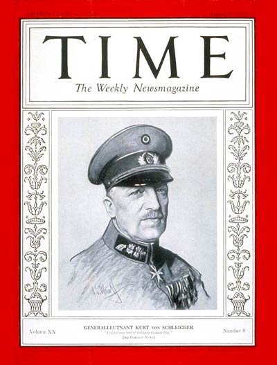 TIME Magazine Cover: General von Schleicher -- Aug. 22, 1932