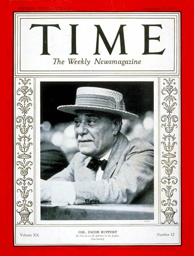TIME Magazine Cover: Colonel Jacob Ruppert -- Sep. 19, 1932