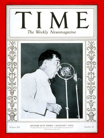 TIME Magazine Cover: Senator Huey P. Long -- Oct. 3, 1932