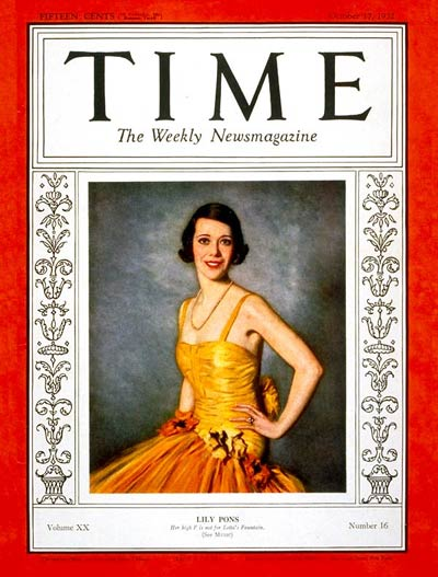 TIME Magazine Cover: Lily Pons -- Oct. 17, 1932
