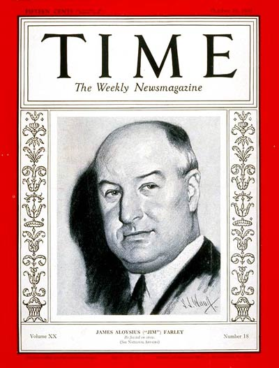TIME Magazine Cover: James A Farley -- Oct. 31, 1932