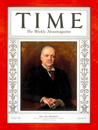 TIME Magazine Cover: Charles Curtis -- Dec. 5, 1932