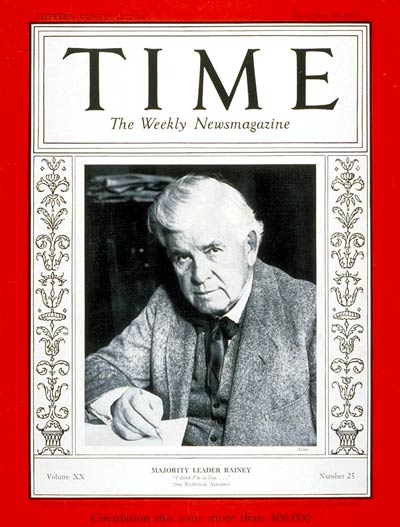 TIME Magazine Cover: Henry T. Rainey -- Dec. 19, 1932