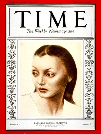 TIME Magazine Cover: Katharine Cornell -- Dec. 26, 1932