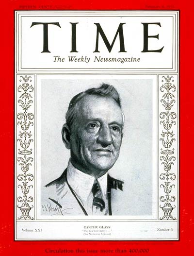 TIME Magazine Cover: Senator Carter Glass -- Feb. 6, 1933