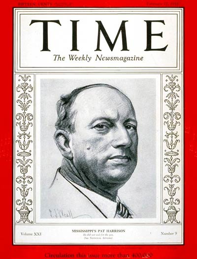 TIME Magazine Cover: Senator Pat Harrison -- Feb. 27, 1933