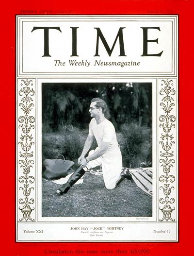 TIME Magazine Cover: John Hay Whitney -- Mar. 27, 1933