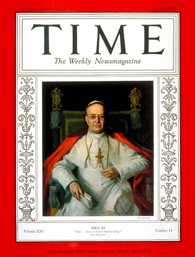 TIME Magazine Cover: Pope Pius XI -- Apr. 3, 1933