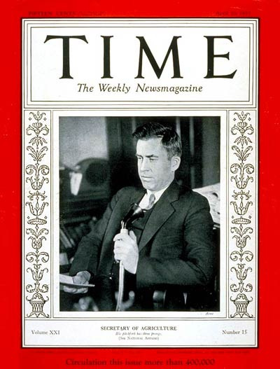 TIME Magazine Cover: Henry A. Wallace -- Apr. 10, 1933