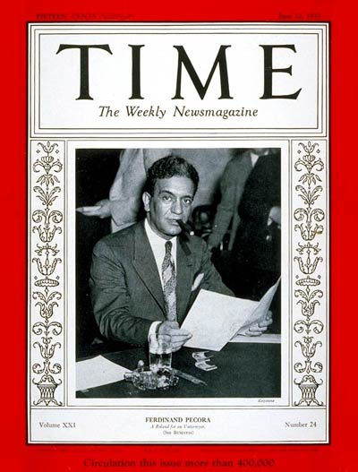 TIME Magazine Cover: Ferdinand Pecora -- June 12, 1933