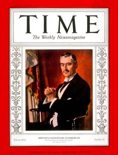 TIME Magazine Cover: Neville Chamberlain -- June 19, 1933