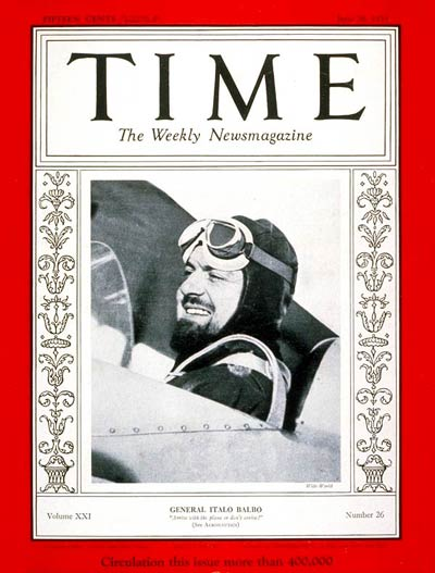 TIME Magazine Cover: General Italo Balbo -- June 26, 1933
