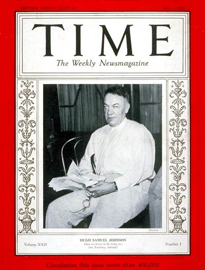 TIME Magazine Cover: General Hugh S. Johnson -- July 3, 1933