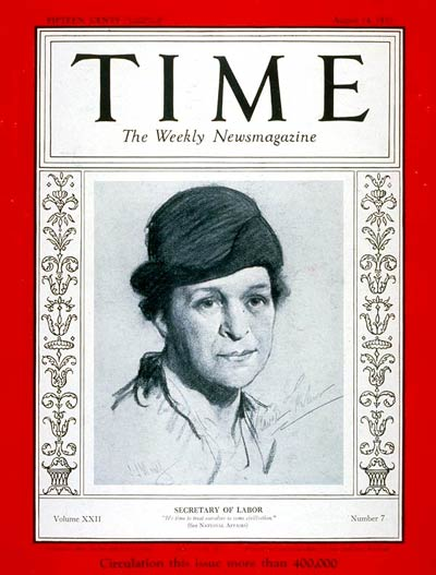 TIME Magazine Cover: Frances Perkins -- Aug. 14, 1933