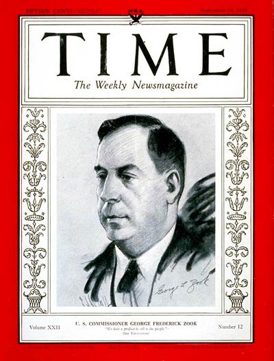 TIME Magazine Cover: George F. Zook -- Sep. 18, 1933