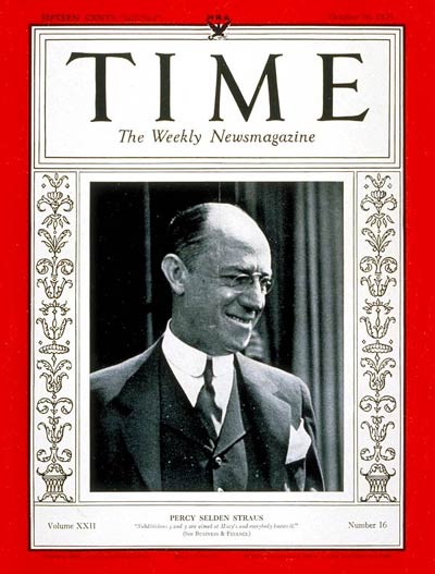 TIME Magazine Cover: Percy S. Straus -- Oct. 16, 1933