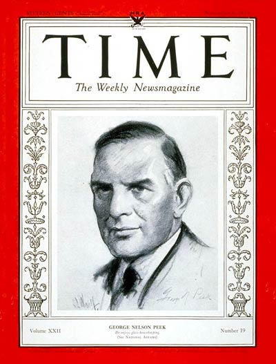 TIME Magazine Cover: George N. Peek -- Nov. 6, 1933
