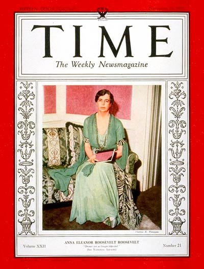 TIME Magazine Cover: Eleanor Roosevelt -- Nov. 20, 1933
