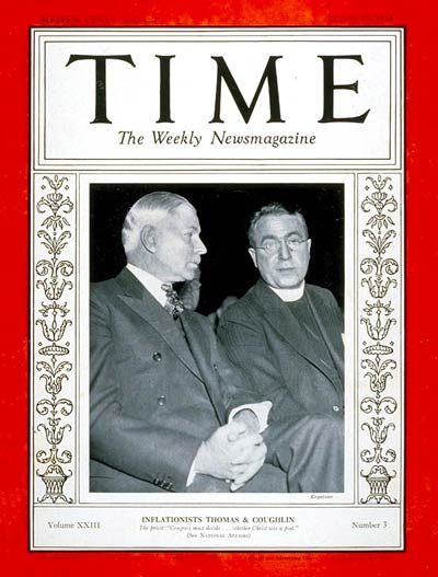TIME Magazine Cover: Senator Elmer Thomas & Father Coughlin -- Jan. 15, 1934