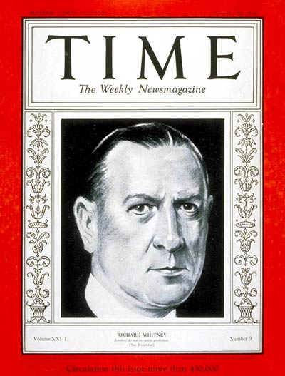 TIME Magazine Cover: Richard Whitney -- Feb. 26, 1934