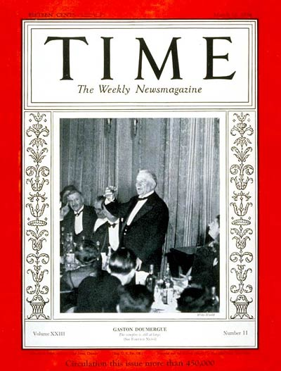 TIME Magazine Cover: Gaston Doumergue -- Mar. 12, 1934