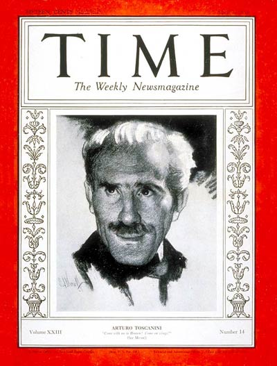 TIME Magazine Cover: Arturo Toscanini -- Apr. 2, 1934