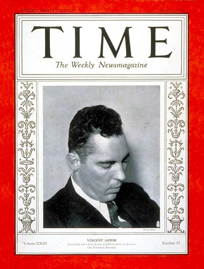 TIME Magazine Cover: Vincent Astor -- Apr. 9, 1934