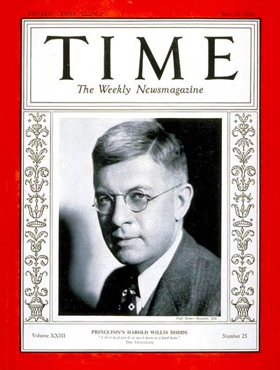 TIME Magazine Cover: Harold Willis Dodds -- June 18, 1934