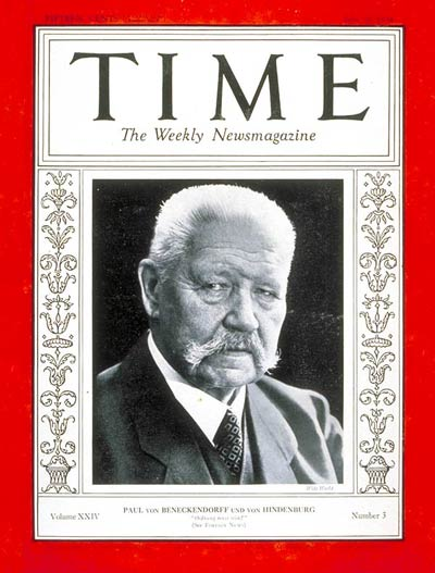 TIME Magazine Cover: Paul von Hindenburg -- July 16, 1934