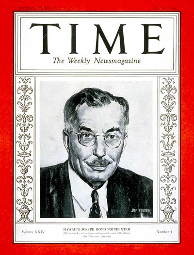 TIME Magazine Cover: Joseph B. Poindexter -- July 23, 1934