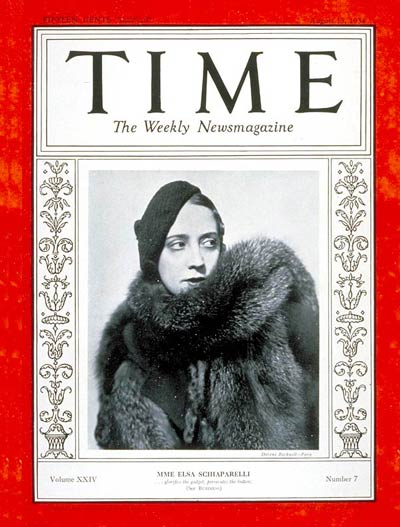 TIME Magazine Cover: Elsa Schiaparelli -- Aug. 13, 1934