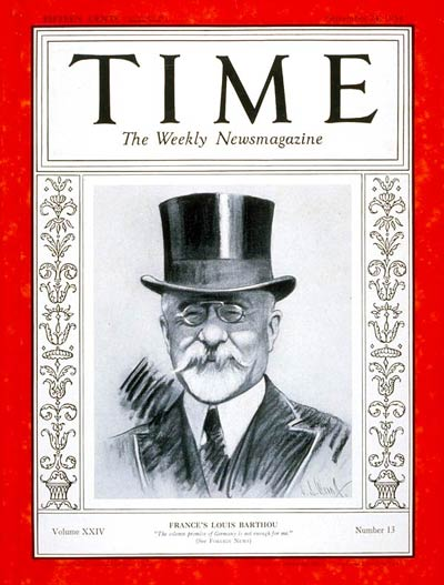 TIME Magazine Cover: Louis Barthou -- Sep. 24, 1934