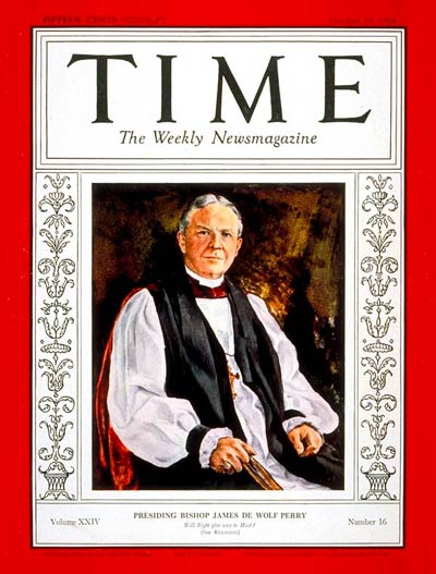 TIME Magazine Cover: Rt. Reverend James Perry -- Oct. 15, 1934