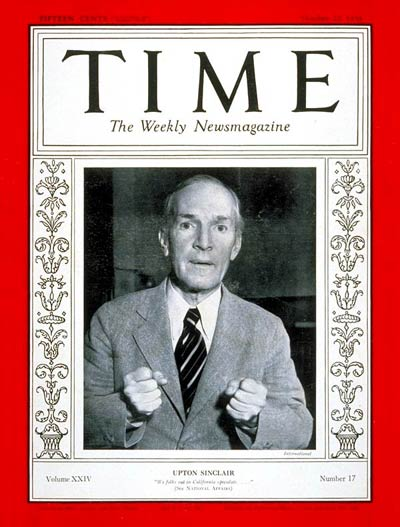 TIME Magazine Cover: Upton Sinclair -- Oct. 22, 1934