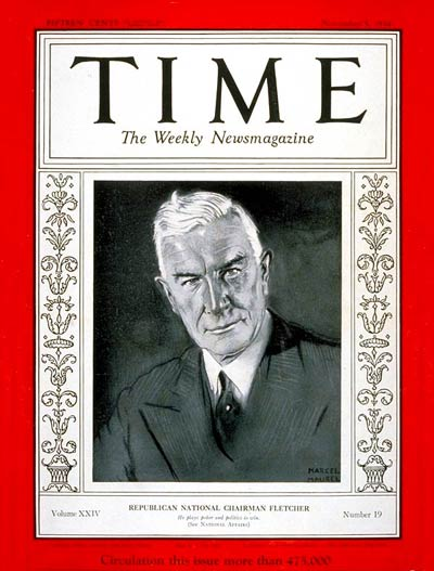 TIME Magazine Cover: Henry P. Fletcher -- Nov. 5, 1934