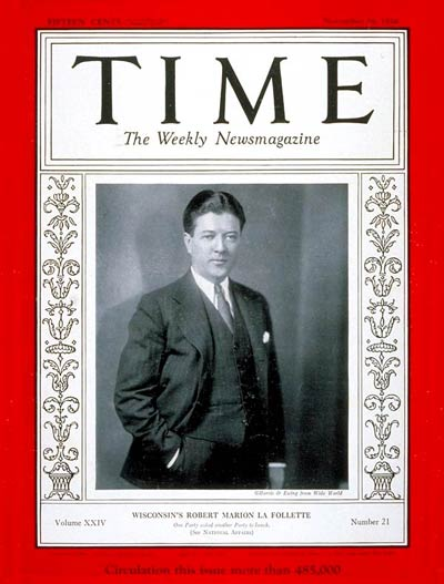 TIME Magazine Cover: Robert La Follett II -- Nov. 19, 1934