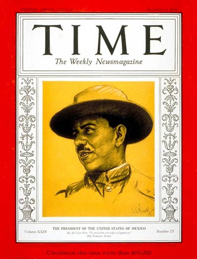 TIME Magazine Cover: General Lázaro Cárdenas -- Dec. 3, 1934