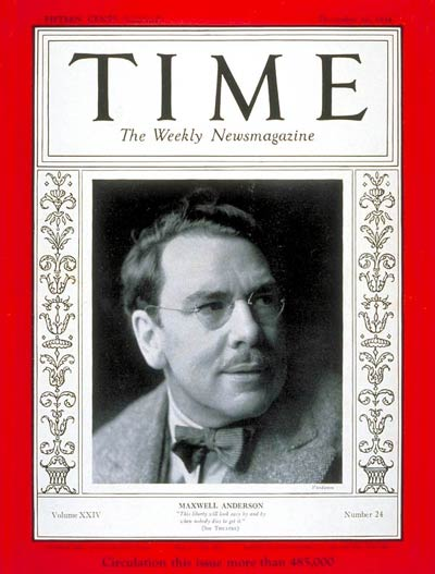 TIME Magazine Cover: Maxwell Anderson -- Dec. 10, 1934