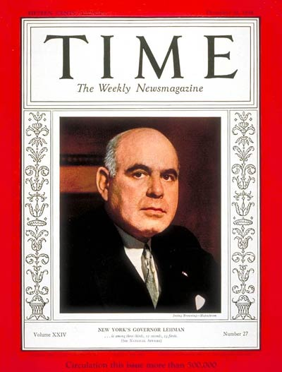 TIME Magazine Cover: Herbert H. Lehman -- Dec. 31, 1934