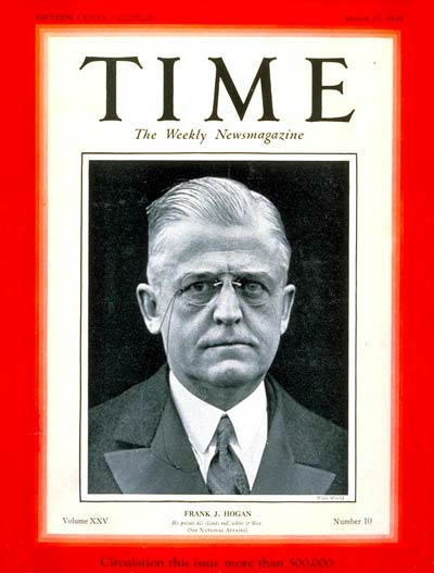 TIME Magazine Cover: Frank J. Hogan -- Mar. 11, 1935