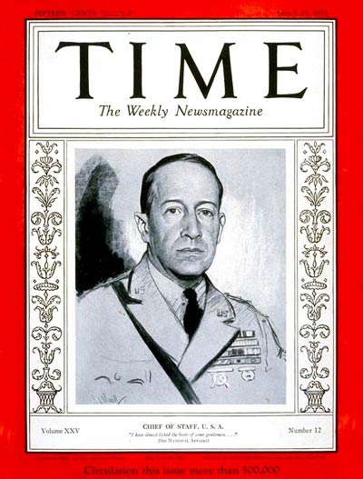 TIME Magazine Cover: General Douglas MacArthur -- Mar. 25, 1935