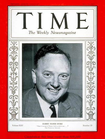 TIME Magazine Cover: Senator Harry F. Byrd -- May 13, 1935
