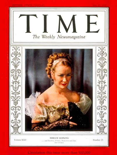 Miriam Hopkins in the title role  of the first Technicolor film 'Becky Sharp' adapted from Thackeray's novel Vanity Fair