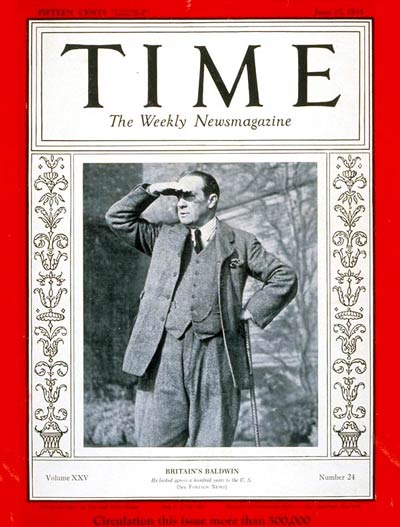 TIME Magazine Cover: Stanley Baldwin -- June 17, 1935